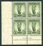 1937 1/- Perf 13½ Lyrebird 38mm Ash imprint corner block of 4 MUH and well centered. ACSC 208zd.