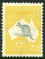 1913 5/- Grey and Yellow 1st Wmk Kangaroo regummed MLH copy, with small repaired tear and a few short perfs.