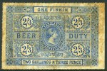 1881 2/3 Blue Beer Duty label unused, with part original gum. Toning, otherwise fine condition.