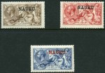 1916-19 Seahorse set MLH. 5/- Bright Carmine and 10/- Deep Bright Blue are De La Rue print and the 2/6 Pale Brown is Bradbury Wilkinson print. 5/- Centered high. Sg 22, 23d and 25. Catalogue Value £680.00.