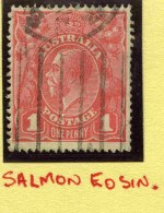 Selection of 202 used 1d Red Single Wmk KGV including useful range of shades and listed varieties. Includes the rare 1917 1d Salmon Eosin fine used with neat slogan postmark [ACSC 71S], 1918 1d Carmine-Red