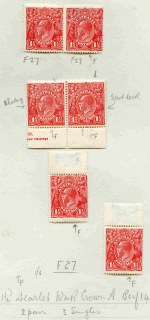 1924-27 1½d Red Single Wmk (56) and Small Multiple Wmk perf 14 (12) and perf 13½ (6) KGV MLH in singles, pairs and blocks. Noted Single Wmk Harrison and Mullett upper and lower imprint pairs, Small Mult Wmk perf 14 Mullett imprint pair, plus range of major listed varieties including
