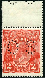 1922 2d Rose-Scarlet KGV perf OS with inverted Single Wmk, MUH upper marginal copy, centered to left, with 2 short perfs. Ceremuga certificate states genuine in all respects. Sg O72w. ACSC 96a. Catalogue Value $2,500.00.