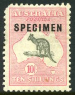 1929 10/- Grey and Pink Small Multiple Wmk Kangaroo with unlisted variety,