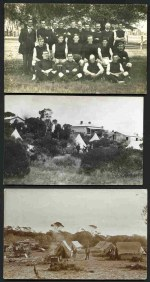 Selection of 23 early postcards of real photographs of PMG Telegraph Linemen and campsites mainly from Lyndhurst and Kangaroo Island including photo of the PMG Football team with