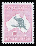 1932 10/- Grey and Pink C of A Wmk Kangaroo MUH and well centered. Superb premium copy.