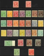 Collection of 64 different mint KGV issues, excluding 1d Red Die II and Die III Single Wmk, 1d Green Large Mult Wmk, 1/4 Blue Small Mult Wmk perf 14, 1d Green Die I, 2d Brown and 4½d Die II Small Mult Wmk perf 13½ and 1/4 Blue C of A Wmk, otherwise complete including all Die variations and OS overprint issues. Mostly fine MLH condition, with odd minor fault and mixed centering. Retail $1,885.00.