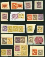 Selection of 40 Stamp Duty issues to £1 value on piece including perf and shade variations, better items and some duplication. Noted 1929 7/6 Surcharge Platypus (2) and 1900 £1 Green and Yellow Queen Vic O/P Revenue (2).