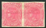 1891 1d Pink Queen Victoria Sideface Wmk TAS imperforate pair mint with light horizontal crease and few tiny thin spots. Sg 164a. Catalogue Value £325.00.