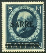 1920 5m Prussian Blue Bavarian issue with SARRE overprint mint hinged. Creased corner perf. Stolow guarantee mark on reverse. Sg 30. Catalogue Value �1,000.00.
