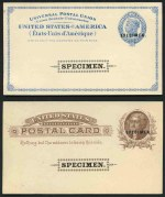 Selection of 14 mint and 24 used Postal Cards from 1875 to 1920 including some with Preprinted message, plus 1879 2� Blue/Buff Liberty and 1885 1� Brown/Buff Jefferson (2) unused Postal Cards, overprinted Specimen in Black at centre and additionally at upper right. Some minor faults on reverse, caused by photo mounts.