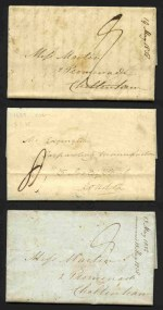 Selection of 8 Pre-Stamp entire's from 1829 to 1841, including Weimar, Germany to London, Lubeck, Germany to Bordeaux, France, Brunswick to Wolfenbuttel, Germany and 5 within Great Britain with a range of postal markings. Also Great Britain 1857 stampless free letter addressed to Devonport, with faint