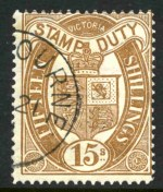 1897 15/- Brown Stamp Duty issue with V over Crown Wmk, perf 12½ CTO with gum, cancelled by Melbourne CDS postmark. Sg 350.