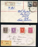 Selection of 23 covers from 1946 to 1952 franked with Australian stamps, addressed locally or to Australia with a range of rates and frankings, plus a selection of Australian stamps on piece including CDS of Daru, Port Moresby, Buin, Lae, Lorengau, Madang, Maprik, Rabaul and Samarai. 4 covers registered, one with dual Papuan and Australian frankings. Also 5 registered covers franked with PNG stamps from 1964 to 1968, including incorrectly spelt 'Wapenanunda' registration label, corrected with manuscript inserted 'A'. Mixed condition.