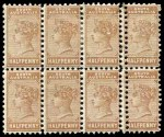 Collection of 146 mint and used stamps from Queensland, South Australia, Tasmania and Victoria including a few early imperfs and better items on album pages. Noted South Australia 1895 ½d Brown perf 13 Queen Vic block of 8, one vertical row with double perfs. Usual variable condition.