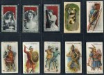 Wills selection of 339 mainly different cigarette cards including 1902 Soldiers of the World (34), 1906 Horses of Today (19), 1908 Girls of all Nations (16), 1910 Types of the Commonwealth Forces (14), 1910 Aviation (89), 1910 Arms of the British Empire large silk (8), 1913 Popular Flowers large silk (13), 1914 Britain's Defenders (20) and 1916 Arms and Armour (44) in cigarette card album. Some faults, but many in G/VG condition. Murray's 2012 catalogue value over £1,000.00.