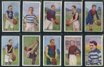 Collection of 90 Australian Football cigarette cards including J.J. Schuh 1920 Victorian League Footballers (13), 1925 Heads in Rays (2), Sniders & Abrahams 1904 Australian Footballers (4), 1906 Victorian League (3), 1907 Victorian Country Players (2), 1908 Victorian Footballers D Series (3), 1909 West Australian League Players (3), 1910 West Australian Players Sepia (2), 1910 Heads in Oval (4), 1911 Heads in Rays (6), 1912 Heads in Pennants (5), 1913 Heads in Stars (3), Wills 1905 Football Club Colours and Flags (2), 1905 Past & Present Champions (11) and Godfrey Phillips 1930 Victorian Footballers Series of 50 (23). Odd duplicate. Some faults, but many in G/VG condition. Murray's 2012 catalogue value £1,060.00.