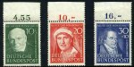 1951 10pf + 3pf, 20pf + 5pf and 30pf + 10pf Humanitarian Relief Fund MUH. Sg 1070-1072. Catalogue Value �152.00.
