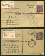 1924-25 4½d Violet KGV on De La Rue stock, with saw-tooth edges and correct spelling of envelope, 1924-25 4½d Violet KGV on Hodgson Wove stock with straight edges and top on crown and 1928-30 4½d KGV short envelope (few pinholes) with oval die fine used. ACSC RE18, 19 and 21. Catalogue Value $155.00.