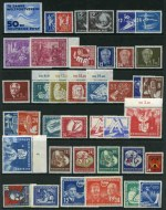 Collection of MUH stamps from 1949 to 1956 on Hagner sheets, including 1949 Postal Workers set, 1950 Winter Sports Meeting sets, 1950 Leipzig Spring Fair set,  1950 30pf Labour Day, 1950 Bach set, 1950 Peace set, 1951 Leipzig Spring Fair set, 1951 Polish President set, 1951 Youth and Students Festival set, 1953 Karl Marx set (2), 1955 Engels set, 1955 Historic buildings set, 1955 Paintings set, 1956 Mozart set and more. Catalogue Value �1,108.00.