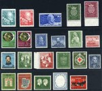 1949 Parliament set, 1949 30pf U.P.U., 1950 Bach set, 1951 Philatelic Exhibition, 1951 30pf Rontgen, 1952 30pf Otto Gas Engine, 1952 10pf + 5pf National Museum, 1952 20pf Heligoland, 1952 20pf Carl Schurz, 1952 Youth Hostels set, 1953 10pf + 5pf Science Museum, 1953 10pf Henri Dunant, 1953 30pf Liebig, 1953 IFRABA Philatelic Exhibition set, 1954 10pf Ehrlich and Von Behring, 1955 40pf Schiller and 1955 20pf Postal Transport. Sg 1033-1034, 1038, 1043-4044, 1067-1068, 1073, 1076-1081, 1089-1090, 1092, 1097-1098, 1123 and 1136-1137. Catalogue Value �955.00.