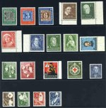 1949 Stamp Centenary set, 1951 Humanitarian Relief Fund set, 1952 10pf Lutheran Assembly, 1952 10pf + 5pf National Museum, 1952 20pf Carl Schurz, 1952 Youth Hostels set, 1953 20pf Road Safety, 1953 10pf Henri Dunant, 1953 30pf Liebig and 1953 Transport Exhibition set. Sg 1035-1037, 1069-1072, 1075, 1077, 1079-1081, 1088, 1090 and 1092-1096. Catalogue Value �575.00.
