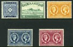 1939 Anniversary of Cession of Ionian Islands set mint. 20d values without gum. Sg 523-527. Catalogue Value �144.00.