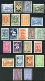 1947-51 Restoration of Dodecanese Islands to Greece set MLH. 250d value with small thin. Sg 659-681. Catalogue Value �538.00.