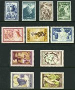 1952 Anti-Communist Campaign set and 1953 National Products set MLH. 2000d National Products with slight gum disturbance. Sg 698-701 and 706-712. Catalogue Value �220.00.