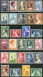 1956 and 1957 Royal Family sets MLH. 1956 50l, 70l, 3d, 4d and 10d and 1957 1d values with minor faults. Sg 747-760 and 764-777. Catalogue Value �287.00.