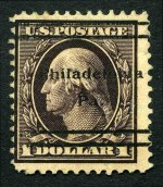 1909 $1.00 Purple-Black perf 12 Washington mint with 'Philadelphia Pa.' precancel. Small thin. Sg 349. Catalogue Value �550.00.