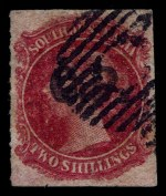 1869-73 2/- Rose-Carmine Queen Victoria roulette Departmental O/P G.P. (Government Printer) in Black fine used. Rated R.