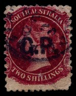 1868-69 2d Vermilion Queen Victoria roulette with Crown SA Wmk Departmental O/P S.M. (Stipendiary Magistrate) in Blue and 1869-73 2/- Carmine Queen Victoria perf 11½-12½ x 10 Departmental O/P G.P. (Government Printer) in Black fine used. Minor faults. Rated C and R.