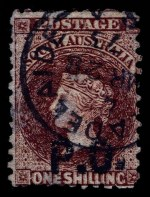 1869-73 1/- Chestnut Queen Victoria perf 10 Departmental O/P P.O. (Post Office) in Black fine used. The overprint misplaced to base. Faults, but of fine appearance. Rated RRR. Realised $240.00 in 2005 Prestige Philately Auction 114.