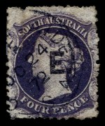 1869-73 4d Dull Purple Queen Victoria perf 12½ Large Star Wmk Departmental O/P E. (Engineer) in Black fine used. Repaired tear at left. Rated R. Realised $280.00 in 2005 Prestige Philately Auction 114.