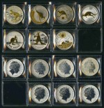 2003-2009 RAM $1.00 Kangaroo selectively Gold plated Silver Proof coins. Includes the Rolf Harris, Reg Mombassa and Ken Done designed coins. Retail $990.00.