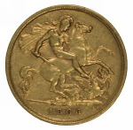 1906 Melbourne Mint KEVII Gold Half Sovereign VF. Catalogue value $500.00.