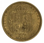 1891 Sydney Mint Queen Victoria Jubilee Head Gold Half Sovereign with IEB F. McDonald 038.