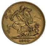 1886 Sydney Mint St. George Reverse Queen Victoria Young Head Gold Sovereign F.
