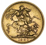 1880 Sydney Mint St. George Reverse Portrait Type I Queen Victoria Young Head Gold Sovereign with BP aF. McDonald 158.