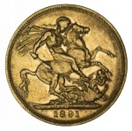 1891 Melbourne Mint Queen Victoria Jubilee Head Gold Sovereign with Long Tail F. McDonald 183a.