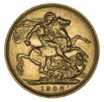1906 Melbourne Mint KEVII Gold Sovereign F.