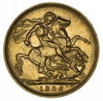 1906 Melbourne Mint KEVII Gold Sovereign VF.
