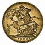 1906 Perth Mint KEVII Gold Sovereign VF.