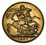 1907 Melbourne Mint KEVII Gold Sovereign good VF.