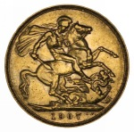1907 Perth Mint KEVII Gold Sovereign VF.