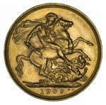 1909 Melbourne Mint KEVII Gold Sovereign VF/EF.