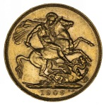 1909 Perth Mint KEVII Gold Sovereign VF.