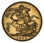 1909 Perth Mint KEVII Gold Sovereign good VF.