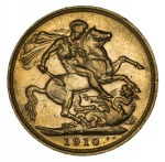 1910 Melbourne Mint KEVII Gold Sovereign VF.